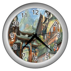 Japanese Art Painting Fantasy Wall Clocks (silver)