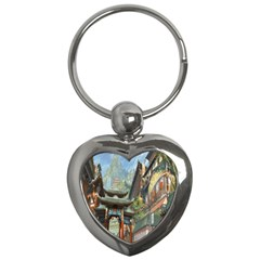 Japanese Art Painting Fantasy Key Chains (heart)  by Amaryn4rt