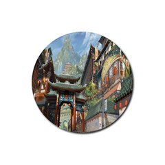 Japanese Art Painting Fantasy Rubber Round Coaster (4 Pack)