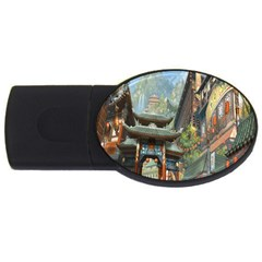 Japanese Art Painting Fantasy Usb Flash Drive Oval (2 Gb) by Amaryn4rt