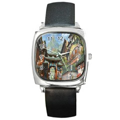 Japanese Art Painting Fantasy Square Metal Watch