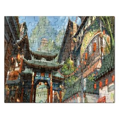 Japanese Art Painting Fantasy Rectangular Jigsaw Puzzl by Amaryn4rt