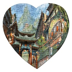 Japanese Art Painting Fantasy Jigsaw Puzzle (heart)