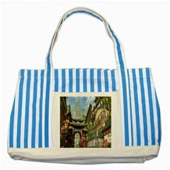 Japanese Art Painting Fantasy Striped Blue Tote Bag