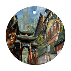 Japanese Art Painting Fantasy Round Ornament (two Sides) by Amaryn4rt