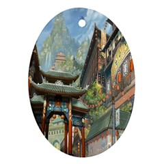 Japanese Art Painting Fantasy Oval Ornament (two Sides) by Amaryn4rt