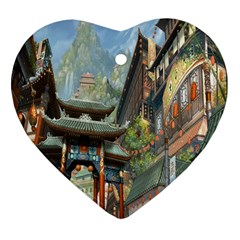 Japanese Art Painting Fantasy Heart Ornament (two Sides) by Amaryn4rt