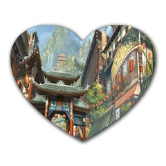 Japanese Art Painting Fantasy Heart Mousepads by Amaryn4rt