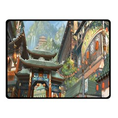 Japanese Art Painting Fantasy Fleece Blanket (small) by Amaryn4rt