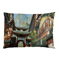 Japanese Art Painting Fantasy Pillow Case (two Sides) by Amaryn4rt