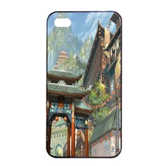 Japanese Art Painting Fantasy Apple Iphone 4/4s Seamless Case (black) by Amaryn4rt