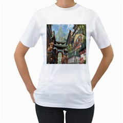 Japanese Art Painting Fantasy Women s T Shirt (white)  by Amaryn4rt