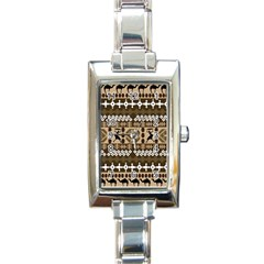 African Vector Patterns Rectangle Italian Charm Watch