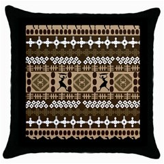 African Vector Patterns Throw Pillow Case (black)