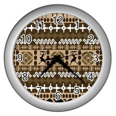 African Vector Patterns Wall Clocks (silver)