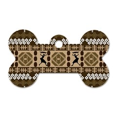 African Vector Patterns Dog Tag Bone (two Sides)
