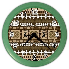African Vector Patterns Color Wall Clocks by Amaryn4rt
