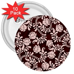 Flower Leaf Pink Brown Floral 3  Buttons (10 Pack)  by Alisyart