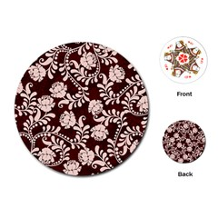 Flower Leaf Pink Brown Floral Playing Cards (round)  by Alisyart