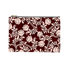 Flower Leaf Pink Brown Floral Cosmetic Bag (large)