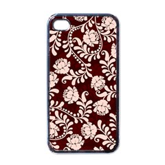 Flower Leaf Pink Brown Floral Apple Iphone 4 Case (black)