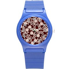 Flower Leaf Pink Brown Floral Round Plastic Sport Watch (s) by Alisyart