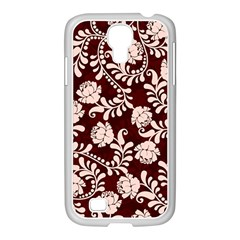 Flower Leaf Pink Brown Floral Samsung Galaxy S4 I9500/ I9505 Case (white) by Alisyart