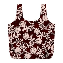 Flower Leaf Pink Brown Floral Full Print Recycle Bags (l)  by Alisyart