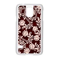 Flower Leaf Pink Brown Floral Samsung Galaxy S5 Case (white)
