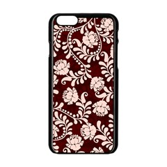 Flower Leaf Pink Brown Floral Apple Iphone 6/6s Black Enamel Case by Alisyart