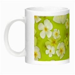 Frangipani Flower Floral White Green Night Luminous Mugs by Alisyart