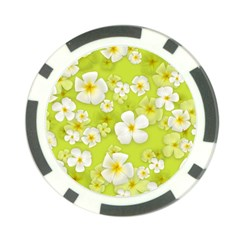 Frangipani Flower Floral White Green Poker Chip Card Guard (10 Pack) by Alisyart