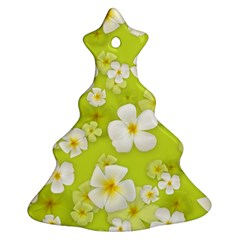 Frangipani Flower Floral White Green Christmas Tree Ornament (two Sides)