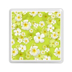 Frangipani Flower Floral White Green Memory Card Reader (square)