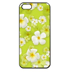 Frangipani Flower Floral White Green Apple Iphone 5 Seamless Case (black)