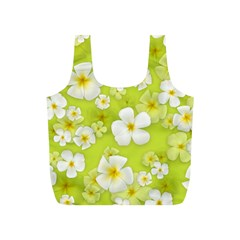 Frangipani Flower Floral White Green Full Print Recycle Bags (s)  by Alisyart