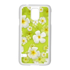 Frangipani Flower Floral White Green Samsung Galaxy S5 Case (white)