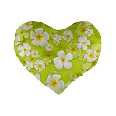 Frangipani Flower Floral White Green Standard 16  Premium Flano Heart Shape Cushions by Alisyart