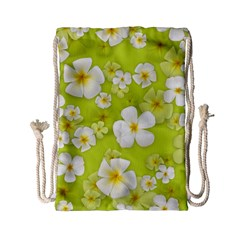 Frangipani Flower Floral White Green Drawstring Bag (small) by Alisyart