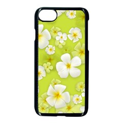 Frangipani Flower Floral White Green Apple Iphone 7 Seamless Case (black)