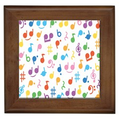 Notes Tone Music Purple Orange Yellow Pink Blue Framed Tiles