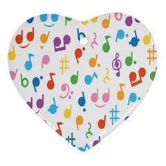 Notes Tone Music Purple Orange Yellow Pink Blue Ornament (heart)