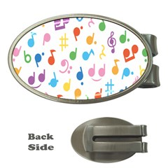 Notes Tone Music Purple Orange Yellow Pink Blue Money Clips (oval)