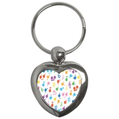Notes Tone Music Purple Orange Yellow Pink Blue Key Chains (heart)  by Alisyart