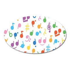 Notes Tone Music Purple Orange Yellow Pink Blue Oval Magnet