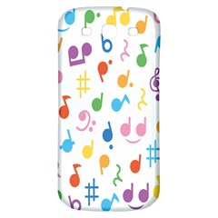 Notes Tone Music Purple Orange Yellow Pink Blue Samsung Galaxy S3 S Iii Classic Hardshell Back Case