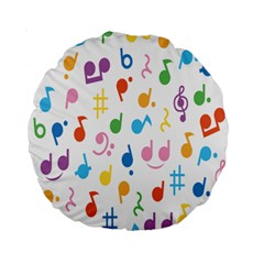 Notes Tone Music Purple Orange Yellow Pink Blue Standard 15  Premium Round Cushions