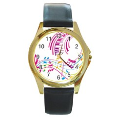 Musical Notes Pink Round Gold Metal Watch by Alisyart