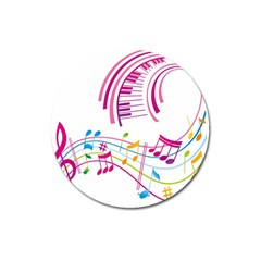 Musical Notes Pink Magnet 3  (round)
