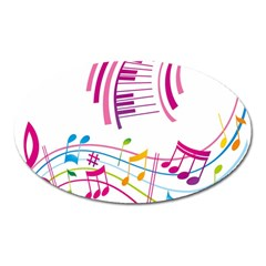 Musical Notes Pink Oval Magnet